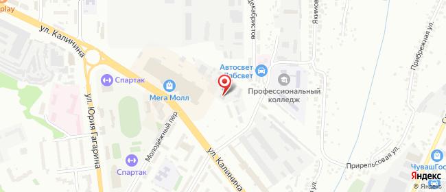 Карта расположения пункта доставки Чебоксары Калинина в городе Чебоксары