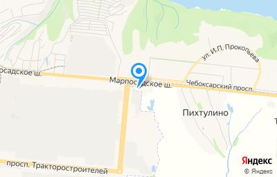 Местоположение на карте пункта техосмотра по адресу Чувашская Республика - Чувашия, Чебоксарский р-н, д Пихтулино, ул Автомобилистов, д 1