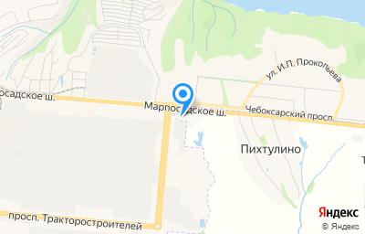 Местоположение на карте пункта техосмотра по адресу Чувашская республика - Чувашия, Чебоксарский р-н, деревня Пихтулино, ул Автомобилистов, д 1