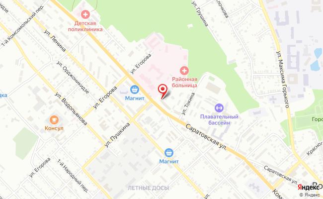 Карта расположения пункта доставки Ростелеком в городе Вольск