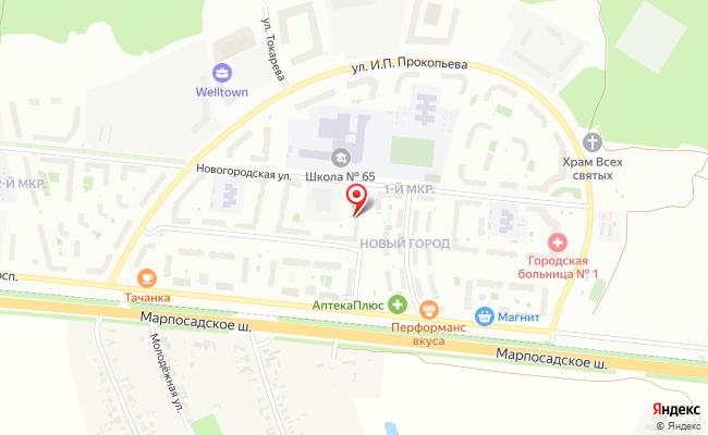 Карта расположения пункта доставки Чебоксары Новогородская в городе Чебоксары