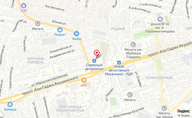 Карта расположения пункта доставки Билайн в городе Махачкала