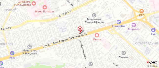 Карта расположения пункта доставки Махачкала А.Акушинского в городе Махачкала