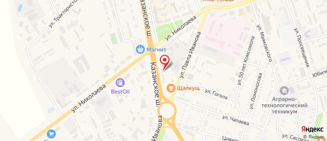Карта расположения пункта доставки На П.Иванова в городе Цивильск