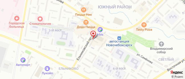 Карта расположения пункта доставки Новочебоксарск Ельниковский в городе Новочебоксарск