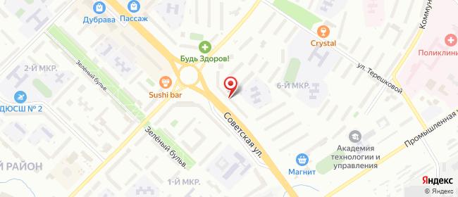 Карта расположения пункта доставки Новочебоксарск Советская в городе Новочебоксарск