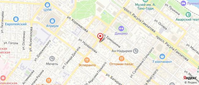 Карта расположения пункта доставки Махачкала Коркмасова в городе Махачкала