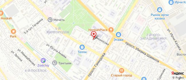 Карта расположения пункта доставки Махачкала Ломоносова в городе Махачкала