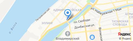 Продовольственный магазин на Набережной Приволжского Затона на карте Астрахани