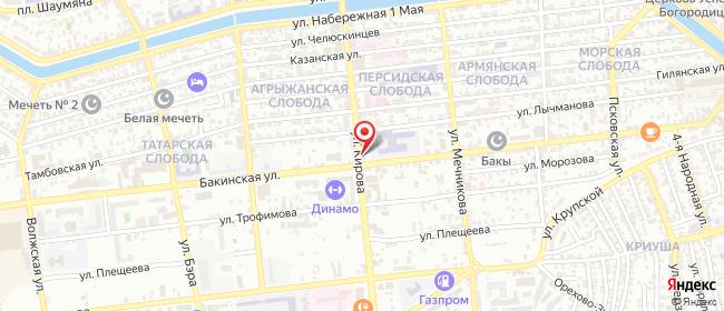 Карта расположения пункта доставки Билайн в городе Астрахань
