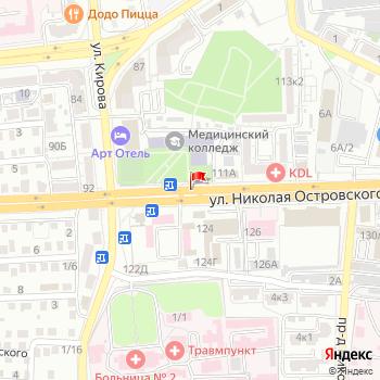 г. Астрахань, ул. Островского, на карта