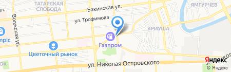 Продуктовый магазин на ул. Ахшарумова на карте Астрахани