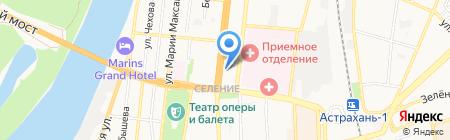Волжский берег на карте Астрахани