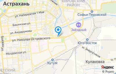 Местоположение на карте пункта техосмотра по адресу г Астрахань, ул Николая Островского, д 127Б
