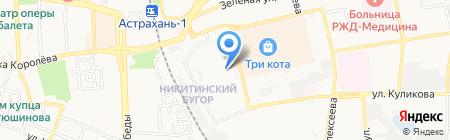 Мирный на карте Астрахани