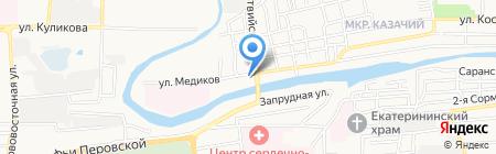 Автомойка на Латвийской на карте Астрахани