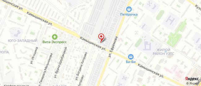 Карта расположения пункта доставки На Ефремова в городе Ульяновск
