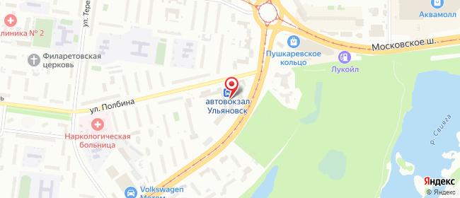 Карта расположения пункта доставки Ульяновск Полбина в городе Ульяновск