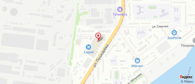 Карта расположения пункта доставки На Пушкарева в городе Ульяновск