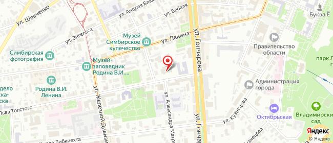 Карта расположения пункта доставки Ростелеком в городе Ульяновск