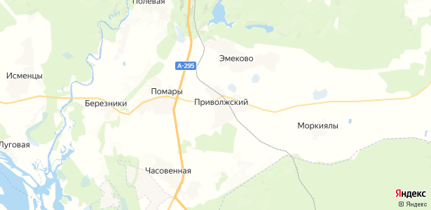 Приволжский на карте