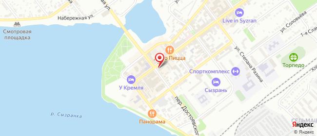 Карта расположения пункта доставки Сызрань Советская в городе Сызрань