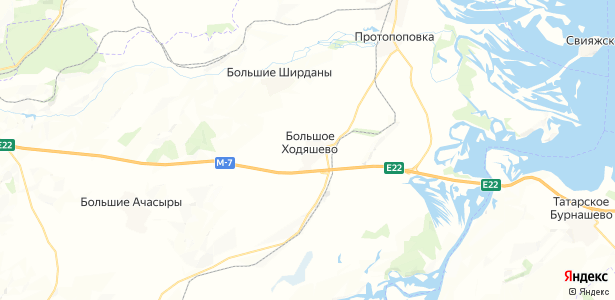 Большое Ходяшево на карте