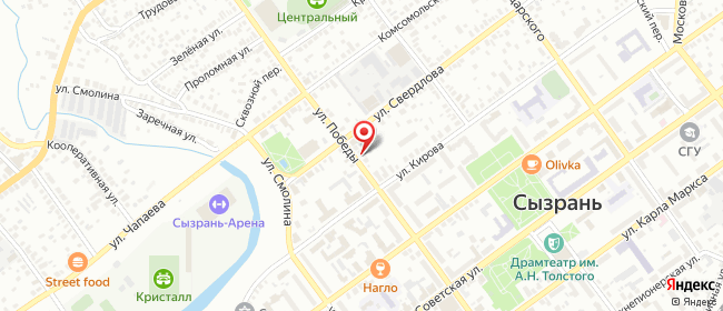 Карта расположения пункта доставки Сызрань Победы в городе Сызрань