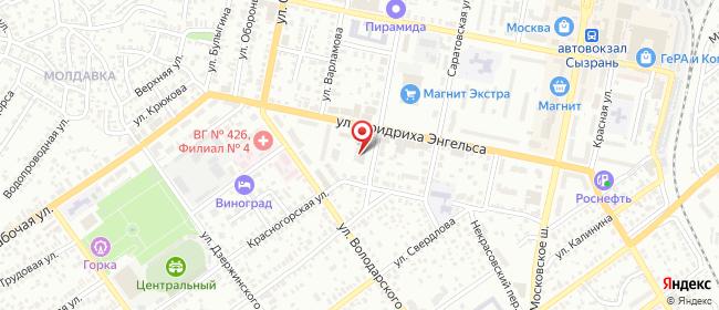 Карта расположения пункта доставки Ростелеком в городе Сызрань