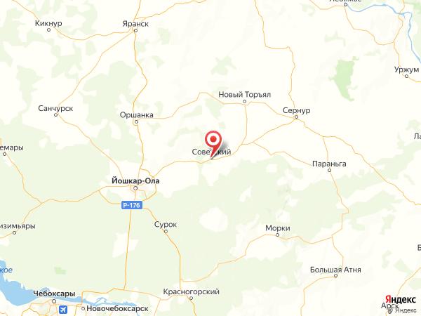 поселок городского типа Советский на карте