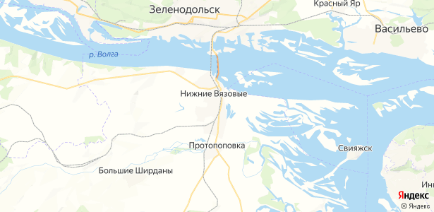 Нижние Вязовые на карте