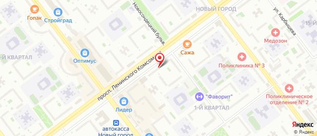 Карта расположения пункта доставки Ульяновск Ленинского Комсомола в городе Ульяновск