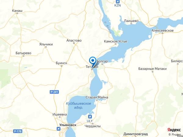 Тетюши на карте