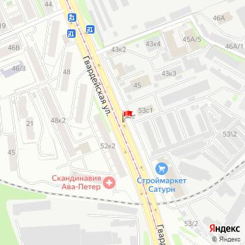 г. Казань, ул. Гвардейская, на карта