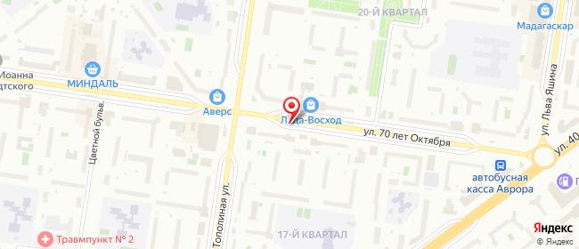Карта расположения пункта доставки Тольятти 70 лет Октября в городе Тольятти