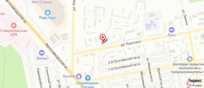 Карта расположения пункта доставки Тольятти Толстого в городе Тольятти