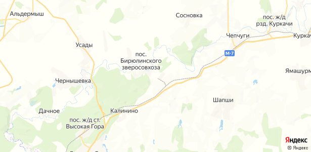 Бирюлинского зверосовхоза на карте