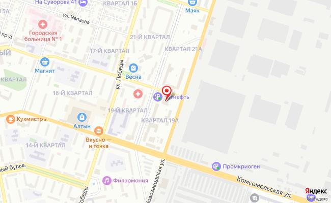 Карта расположения пункта доставки Тольятти Горького в городе Тольятти