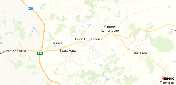 Новое Шигалеево на карте