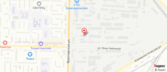Карта расположения пункта доставки DPD Pickup в городе Тольятти