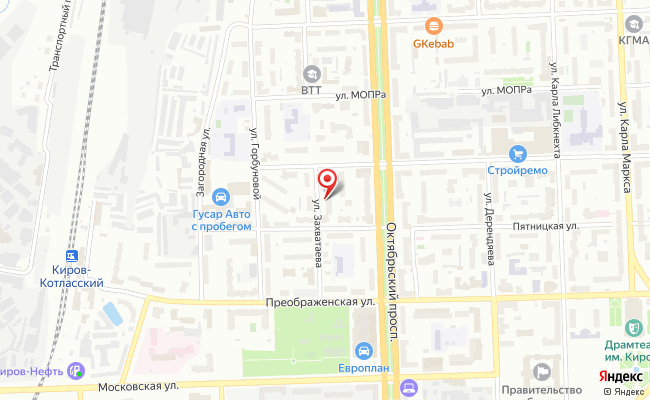 Карта расположения пункта доставки Пункт выдачи в городе Киров