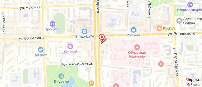 Карта расположения пункта доставки Билайн в городе Киров