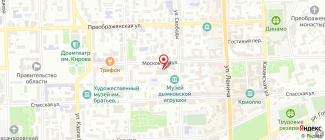 Карта расположения пункта доставки Ростелеком в городе Киров