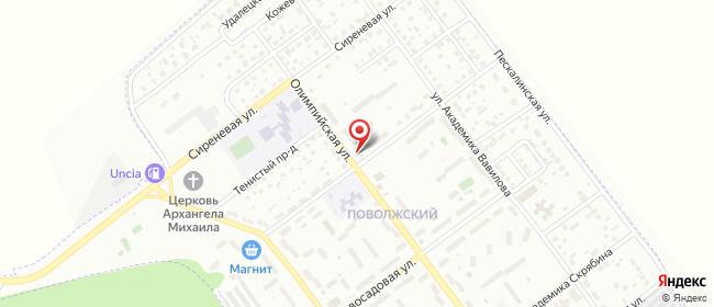 Карта расположения пункта доставки Тольятти Олимпийская в городе Тольятти