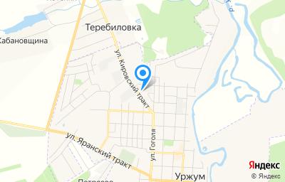 Местоположение на карте пункта техосмотра по адресу Кировская обл, г Уржум, пер Гоголя, д 7