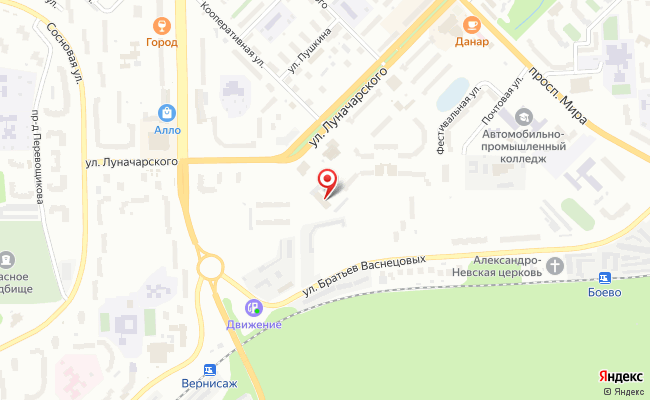 Карта расположения пункта доставки Ростелеком в городе Кирово-Чепецк