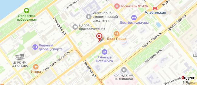 Карта расположения пункта доставки Центр в городе Самара