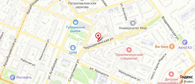Карта расположения пункта доставки На Чернореченской в городе Самара