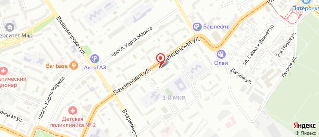Карта расположения пункта доставки Самара Пензенская в городе Самара