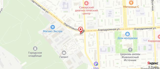 Карта расположения пункта доставки Самара Партизанская в городе Самара